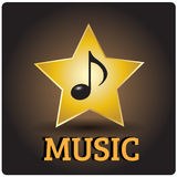 Music icon. With Note and Star royalty free illustration