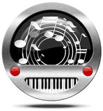 Music Icon - Piano Keyboard and Notes Stock Photos