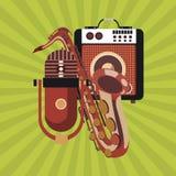 Music icon. Retro concept. Flat illustration, editable vector Stock Photography