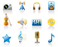 Music icon set. Isolated on a white background Royalty Free Stock Photo
