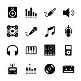 Music Icon. Set black and white for your design Royalty Free Stock Images