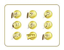 Music Icon Set, Golden Stock Photography