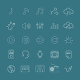 Music icon set line version, vector eps10. Music icon set line version, each icon is a single object (compound path), vector eps10 vector illustration