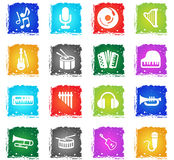 Music icon set. Music  web icons in grunge style for user interface design Royalty Free Stock Photo