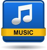 Music icon web button blue Stock Photography