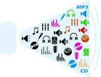 Music icons. Set of color music icons for web. Internet icons Royalty Free Stock Photography