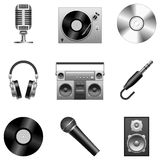 Music icons. Set of 9 silver music icons, isolated on white background Royalty Free Stock Photos