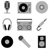 Music icons. Set of 9 grey music icons, isolated on white background Royalty Free Stock Photos