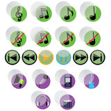 Music icons. Glass musical icons of different types on a white background Royalty Free Stock Photos