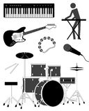 Music icons. Music icon set with instruments, vector illustration Stock Image