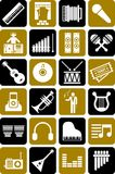 Music icons. This is a collection of music icons Stock Images