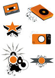 Music icons. A set of music icons in orange and black Royalty Free Stock Photography