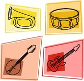 Music icons. Selection of musical instruments in icon style - bugle, drums, mandolin, electric guitar Royalty Free Stock Photos