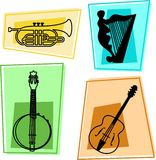 Music icons. Musical instruments - cornet, harp, banjolin, guitar Stock Photos