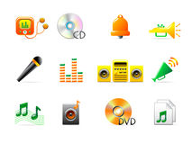 Music icons. Set of 12 colorful music icons Stock Image