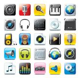 Music icons. Colorful set of audio icons isolated on white Royalty Free Stock Photography