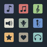 Music icons for app Stock Photos