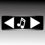 Music icons. On black rectangle on special gradient gray background Royalty Free Stock Photo