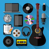 Music icons bundle. Flat design. Vector illustration Royalty Free Stock Photography