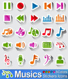 Music icons and buttons. Music icons or buttons with five colours Stock Photo