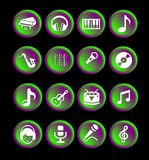 16 music icons or buttons. Green, violet and white, round, web or app Stock Image