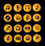 16 music icons or buttons. Yellow, orange and black, web or app Royalty Free Stock Photography