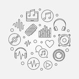Music icons in circle shape. Vector outline illustration. Music icons in circle shape. Vector creative illustration in thin line style royalty free illustration