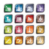 Music Icons. A collection of different kinds of music icons. It contains hi-res JPG, PDF and Illustrator 9 files Stock Photo