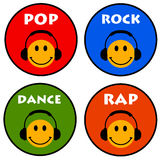 Music icons. Colorful music icons for pop, rock, dance and rap Royalty Free Stock Images