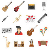 Music Icons Flat Stock Image