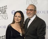 Gloria Estefan and Emilio Estefan. Music icons Gloria and Emilio Estefan arrive for the 32nd Annual Great Sports Legends Dinner presented by Tudor Group at the stock photos
