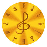 Music Icons. On a golden disc Royalty Free Stock Photos