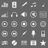 Music icons on gray background Stock Photography