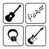Music icons. Of guitars notes and headphones collection Stock Images