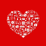 Music Icons with heart. On red background. Vector illustration Royalty Free Stock Photo