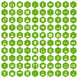 100 music icons hexagon green Royalty Free Stock Photos