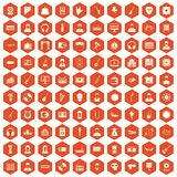 100 music icons hexagon orange. 100 music icons set in orange hexagon isolated vector illustration Royalty Free Illustration