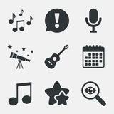 Music icons. Microphone, Acoustic guitar. Royalty Free Stock Photos