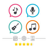 Music icons. Microphone, Acoustic guitar. Royalty Free Stock Photography