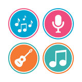 Music icons. Microphone, Acoustic guitar. Stock Photography