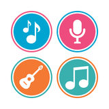 Music icons. Microphone, Acoustic guitar. Stock Photos
