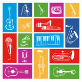 Music icons. Over colorful background vector illustration Stock Images