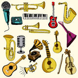 Music icons. Over pink background vector illustration Royalty Free Stock Images