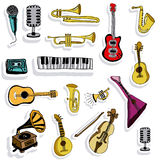 Music icons. Over pink background vector illustration Stock Images