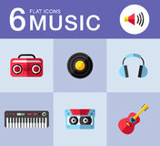 Music icons. Music planar fashion icons for you Stock Photos