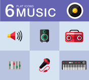 Music icons. Music planar fashion icons for you Stock Image