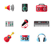 Music icons. Music planar fashion icons for you Royalty Free Stock Images