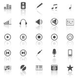 Music icons with reflect on white background Stock Images