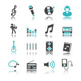 Music icons with reflection Royalty Free Stock Photography