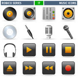 Music Icons - Robico Series. Collection of 16 colorful music icons and buttons, isolated on white background. Robico Series: check my portfolio for the complete stock illustration